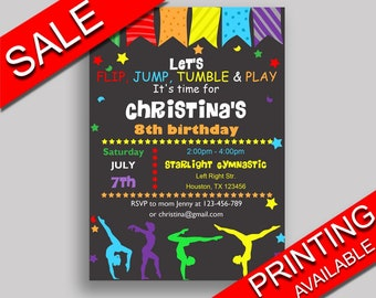 Gymnastics Birthday Invitation Gymnastics Birthday Party Invitation Gymnastics Birthday Party Gymnastics Invitation Girl QKROL