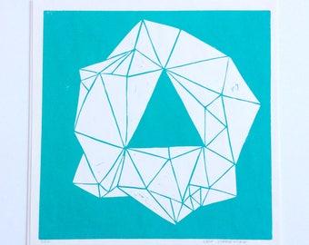 linocut - GEM // 12x12 art print // printmaking // block print // turquoise // emerald // geometric art // contemporary // original art