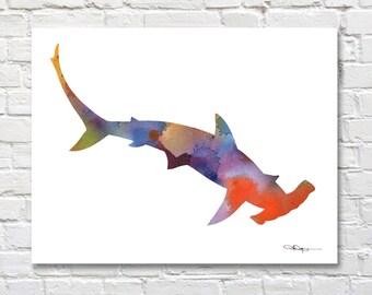Hammerhead Shark Art Print - Abstract Watercolor Painting - Wall Decor