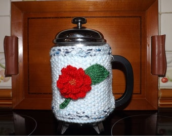 ROSE Coffee POT / Cafetiere Cosy. Hand Knitted. Either Red or Pink Flower. Fits 8 Cup Pot. Great Mothers Day or Valentines Gift.
