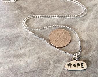"Minimalist ""Hope"" cutout pendant, friendship necklace, hopes and dreams jewelry, tiny pendant"