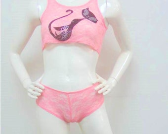 Pink All Lace with Rhinestones Cropped Cami & Boy Short Size Medium