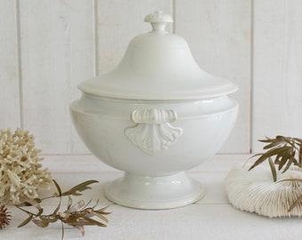 Antique French Tureen stamped CREIL et MONTEREAU   White Ironstone  bowl vase ...