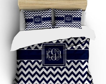 Memorial On Sale Custom Personalized Chevron Duvet Cover and shams - Twin, QUEEN or King  size -Choose from Bedding Swatch Colors
