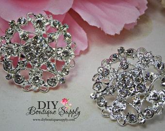 2 pcs Rhinestone Brooch Crystal Brooches Embellishment for Brooch Bouquet Crystal Wedding Bridal Accessories  32mm 863092