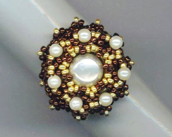 Beadwoven Pearl Ring . Metallic Garnet and Gold . Statement Ring . Cocktail Ring . Genuine Pearl - Elegant Jewelry by enchantedbeads on Ets