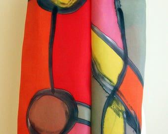 Hand Painted Silk Scarf. Hand Painted Silk Shawl. 71x18 in. Wedding Gift. Giveaways. Ooak scarf. Orange-Brown-Pink-Red silk scarf.