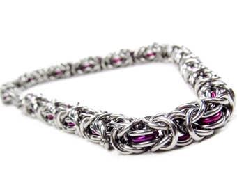 Chainmaille Bracelet - Thin Purple Byzantine