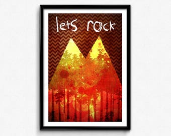 Twin Peaks Poster/Print - Let's Rock Poster/Print - David Lynch, Dale Cooper, Laura Palmer, The Red Room, CtrlAltGeek