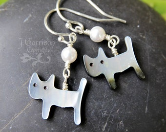 Grey cat & white moon pearl earrings - sterling silver, mother of pearl- tiny kitties - free shipping USA