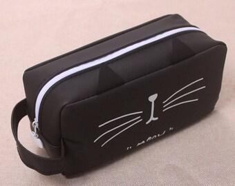 cat pencil case - cat toiletry bag - silica gel pen bag cat