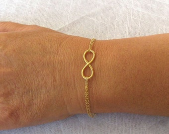 Gold infinity bracelet, gold filled infinity bracelet, jewelry, gold filled 14k bracelet, bridesmaid gift, infinity bracelet, chain bracelet