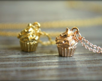 Cupcake Necklace, Available in Gold and Rose Gold