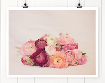 Wall Decor, Flower photography, floral wall art, pink flowers, Flower Still Life Art Ranunculus, Nursery Wall Art Print, Nursery Decor