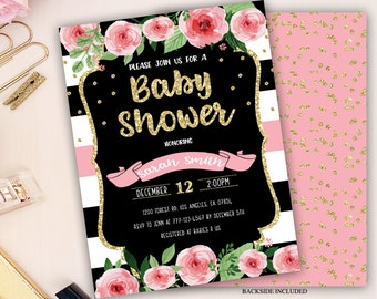 floral baby shower invitation, watercolor baby shower invitation, floral baby shower, flower invites, baby girl shower invitation, glitter