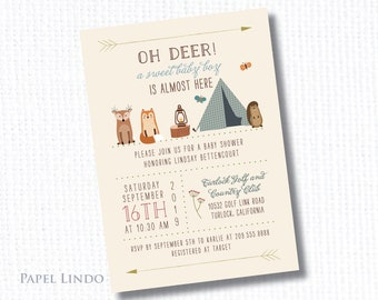 Woodland camping baby shower boy invitation digital file