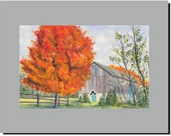Barn in Tyler Park Bucks County Newtown PA, Original Watercolor Mounted Print 11x14