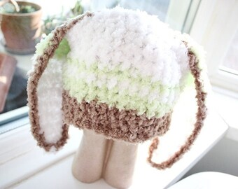 12 to 24m Bunny Hat Green Stripe Beanie Unisex Baby Hat Crochet Toddler Hat Brown Green White Rabbit Photo Prop  , Baby Gift