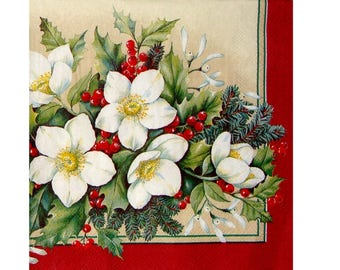 Set of 3 napkins NOE098 Bouquet of winter / Christmas