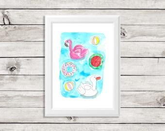 pool float art print - pool float art - pool float painting - flamingo pool float - swan pool float - pool floats - fun pool floats
