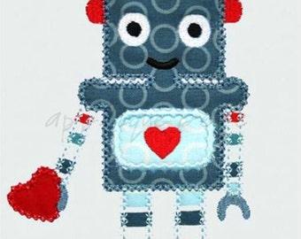 INSTANT DOWNLOAD Robot Valentine Machine Embroidery Applique Design