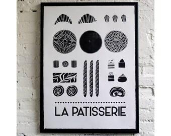 La Patisserie monochrome screen print