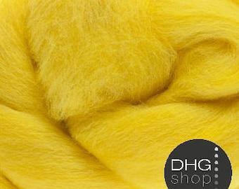"""Superfine merino, 19 microns,""""Sun"""" yellow wool roving, sliver, tops"""
