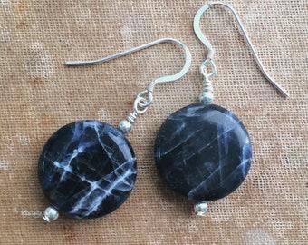 Sodalite and Sterling Silver Dangle Drop Earrings
