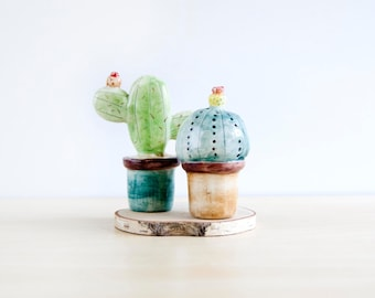 Ceramic cactus miniature decoration set of two, Ceramics & pottery, Pottery cactus in plant pot, Ceramics cactus in flower pots, Noe Marin