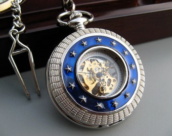 Blue Star Silver Roman Mechanical Pocket Watch with Watch Chain - Engravable Back - Victorian Steampunk - Groomsmen Gift - Item MPW198r