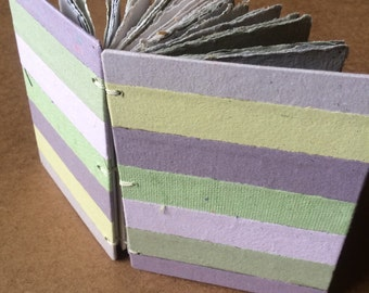 Purple and green striped journal, handmade paper, sketch book, travel journal, guest book, recycled guestbook, purple, green, diary, sketch