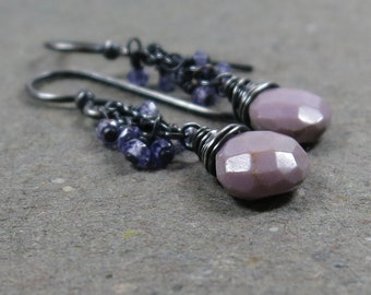 Lavender Cluster Earrings Phosphosiderite Oxidized Sterling Silver Violet Pink Purple Gift for Girlfriend