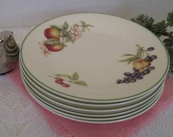 6 Dessert Plates, Fruit Design, Made in England