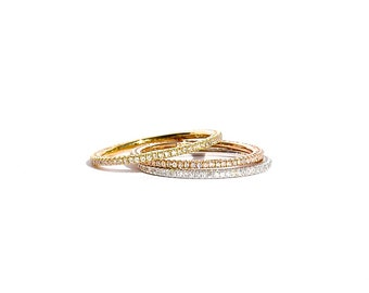18k Gold Micro Pave Diamond Eternity Stacking Band/ Ring
