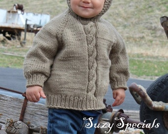 Hand Knitted Hooded Baby Sweater with Back zipper size 6 months | Knitted Baby Jumper | Ready to Ship | All Colors |