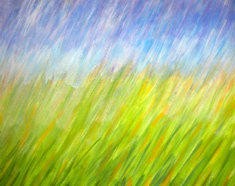DOWNPOUR IN A FIELD Original Acrylic Impressionist Painting