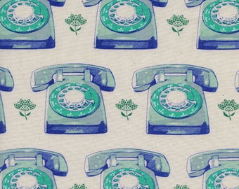 Telephones in Aqua, Trinket Collection,  Melody Miller, Cotton and Steel,  1/2 yard