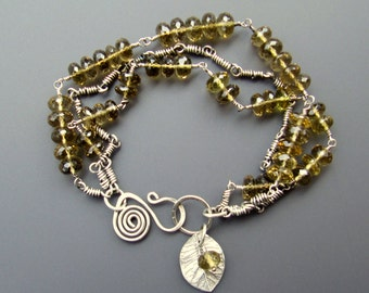 Sterling Silver and Microfaceted Citrine Three-Strand Bracelet with Citrine and Fine Silver Leaf Charms
