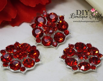 Large RED Rhinestone Buttons RED Crystal buttons Metal flatback Embellishment For Baby Headbands Hair Bow flowers centers 3 pcs 26mm 868031