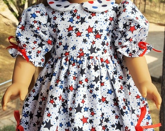 """Stars American Girl Doll Dress & Matching Hair Bow that Fits 18"""" Dolls like Gotz, Our Generation or Springfield.  FREE SHIPPING"""