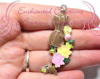 """2"""" Designer Dress Form Charm, Floral Garland, Chunky Pendant, Keychain, Bookmark, Zipper Pull, Chunky Jewelry, Purse Charm, Planner Charm"""