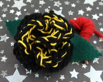 Ace - Crocheted Rose Barrette - Black and Yellow (SWG-HB-DWAC01)
