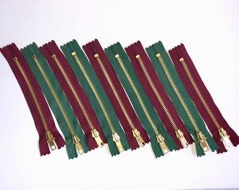 Green Burgundy and dark YKK zippers of 15 cm