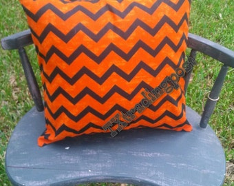 Orange and Black Chevron Pillow Cover with invisible side zipper 15x15 18x18 20x20 12x16 All handmade!
