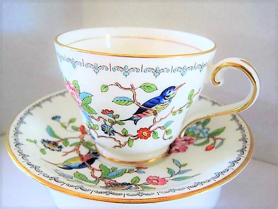 Aynsley Cup and Saucer, Pembroke Pattern,  Bone China England, Vintage Bird and  Floral