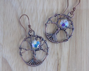Tree of Life Wire Wrapped Earrings Swarovski Crystal Wire Wrapped Oxidized Copper Wire HypoAllergenic Earwires Wire Wrapped Jewelry Handmade
