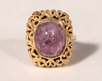 Antique Ring 18k yellow Gold Ring Chubby Amethyst Ring Engraved Scarab Ring French Edwardian Jewellery Ring Size 6.40 US