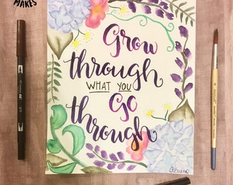Custom Lettered Watercolor Piece by Little Mouse Makes