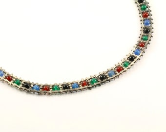 Vintage Beautiful Multi Color Beads Design Necklace 925 Sterling Silver NC 595