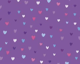 Small Hearts on Purple from the Unicorn Kisses by Lucie Crovatto for Studio E Fabrics, Tiny Hearts, Valentine